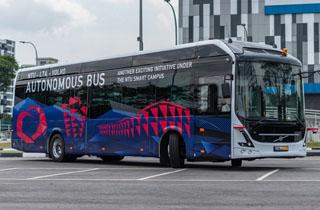 آزمایش اتوبوس خودران ولوو در دانشگاه نانینگ سنگاپور +فیلم