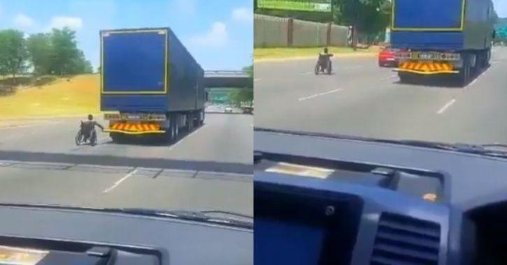 اقدام خطرناک مرد ویلچری در اتوبان! + فیلم/////