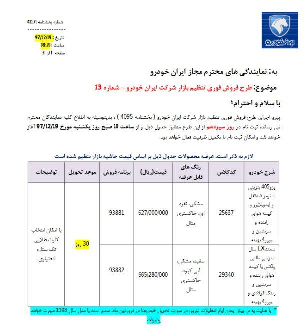 فروش فوری سمند و پژو ۴۰۵ ایران خودرو آغاز شد + جدول