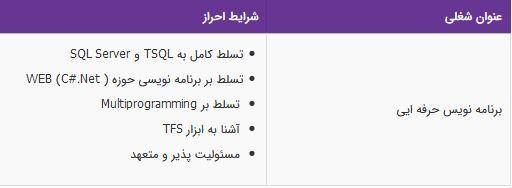 استخدام برنامه نویس حرفه ایی در تهران