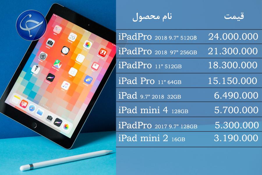 آخرین قیمت انواع تبلت در بازار (تاریخ ۲۲ اسفند) +جدول