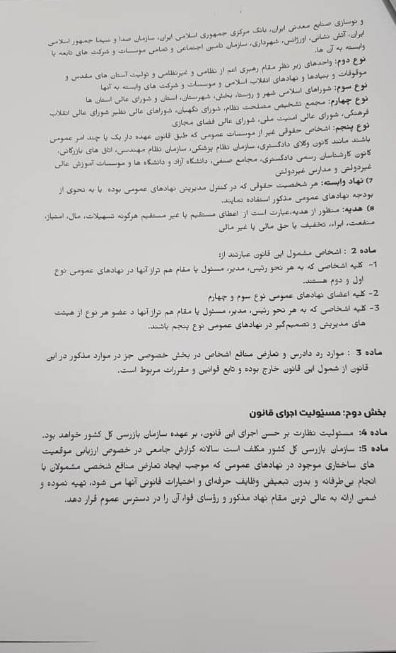 متن کامل پیش نویس طرح تعارض منافع + امضای نمایندگان