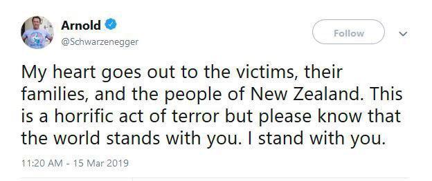 واکنش آرنولد به حمله تروریستی نیوزیلند +عکس