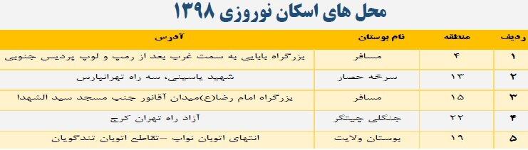 آدرس مکان اسکانهای موقت نوروزی در تهران+نقشه