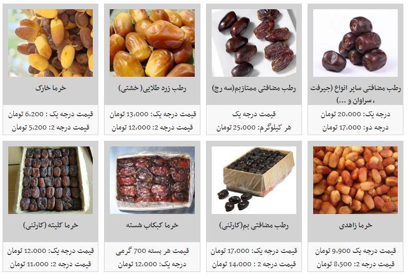 قیمت خرما در میادین میوه و تره بار