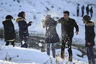 تفریح یک روز برفی در همدان