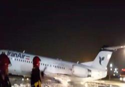 فرود اضطرارى هواپيماى فوكر ١٠٠ بدون چرخ در فرودگاه مهرآباد + فیلم