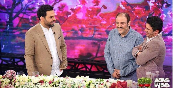 شوخی جالب و خندهدار احسان علیخانی با یوسف تیموری/ اولین حضور دختر مهران غفوریان در تلویزیون/ وقتی همسر هدایت هاشمی نقش عروسش را بازی میکند!