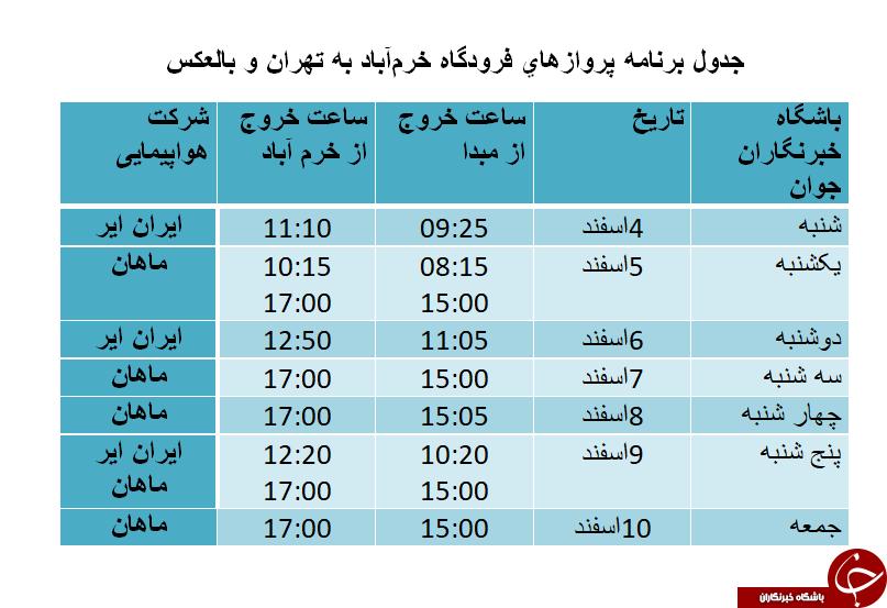 برنامه پروازهای فرودگاه خرمآباد از 4 تا 10 اسفندماه