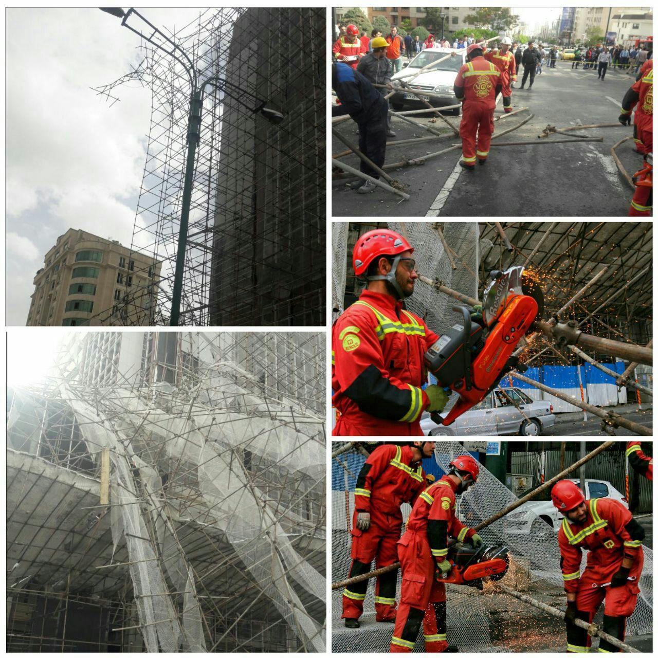 سقوط داربست ساختمان خیابان سعادت آباد را بست
