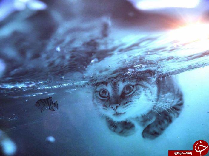 تصاویر دیجیتالی زیبا از حیوانات غول پیکر مقابل آدم های کوچک