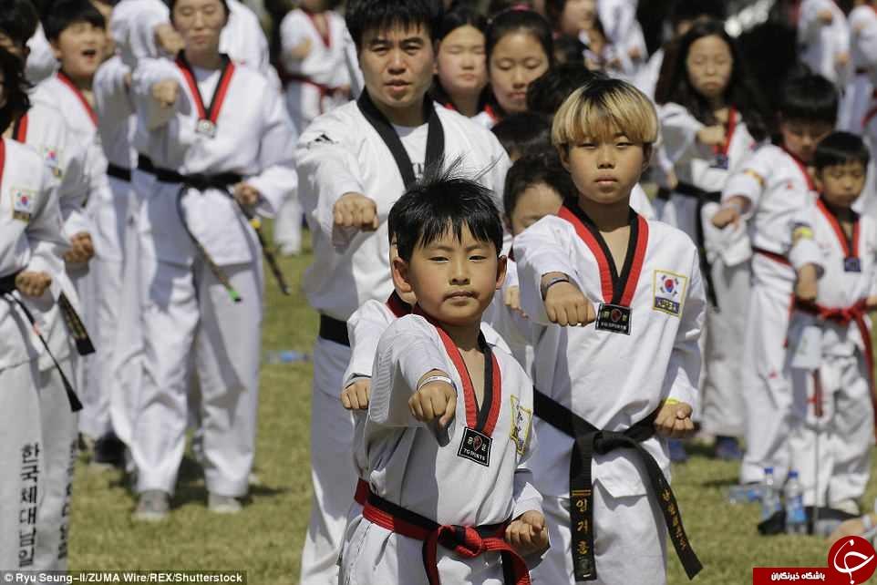 تلاش کره جنوبی برای شکستن رکورد گینس در نمایش تکواندو جهان + عکس