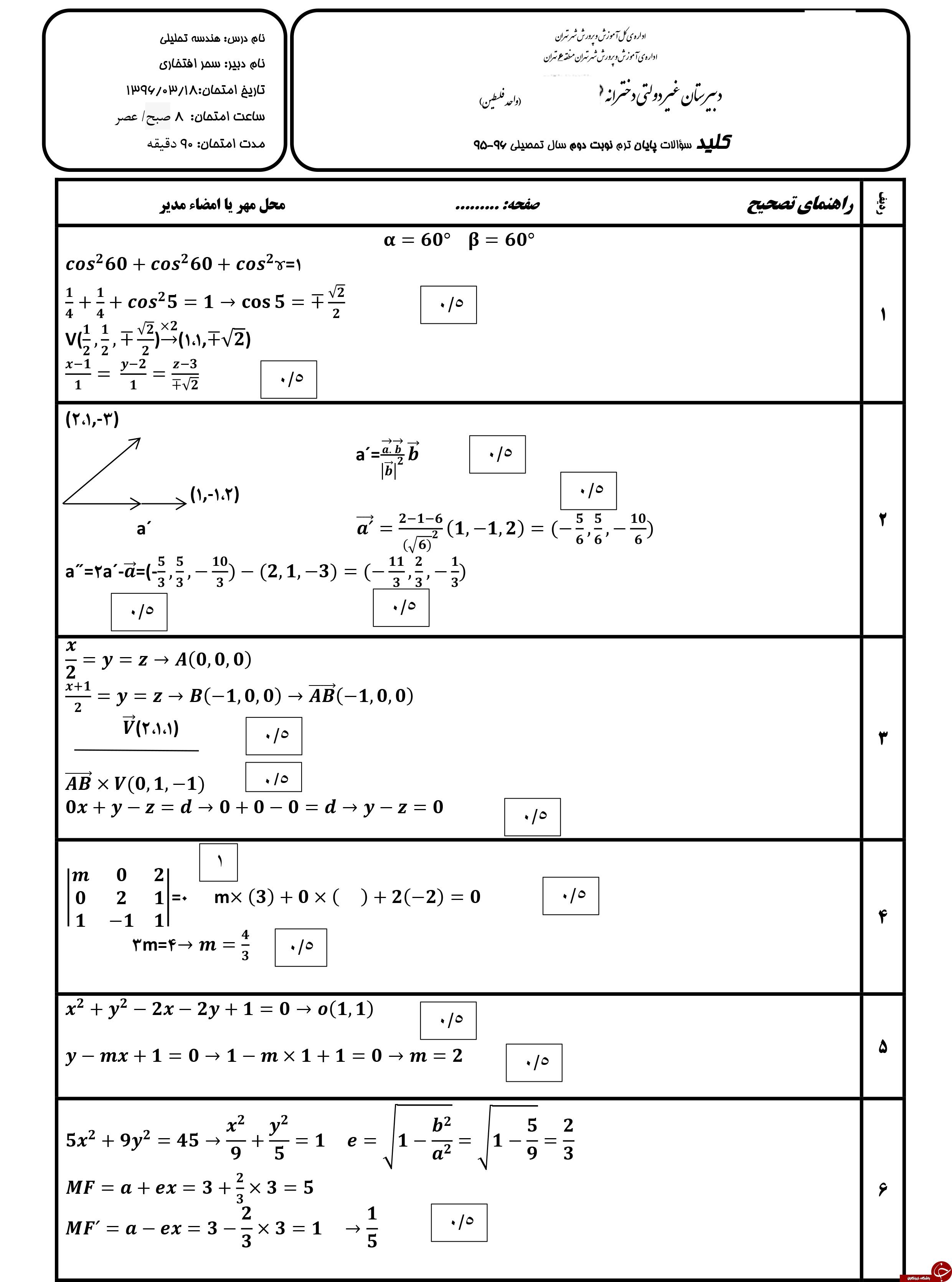 پر تکرار ترین نمونه سوالات نمونه سوالات هندسه ترم دوم + تصاویر