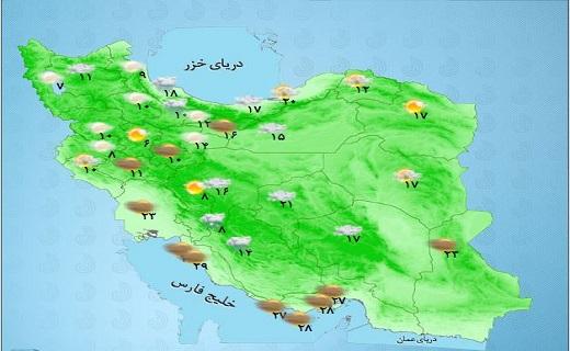 فعالیت سامانه بارشی همچنان در کشور ادامه دارد/ کاهش دما در نیمه شمالی کشور + جدول