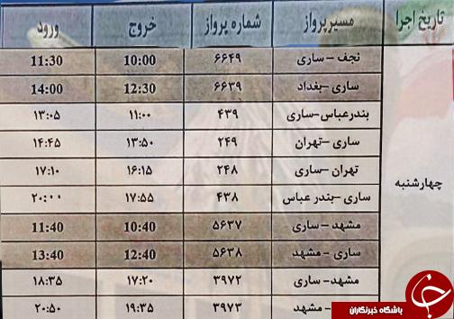 پروازهای چهارشنبه ۲۶ اردیبهشت از فرودگاه های مازندران
