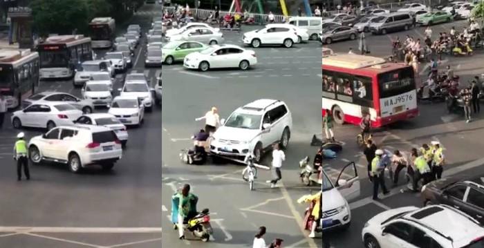 اقدام جنون آمیز یک راننده در وسط چهار راه + فیلم