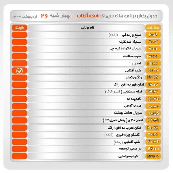 برنامههای سیمای شبکه آفتاب در بیست و ششم اردیبهشت ماه ۹۷