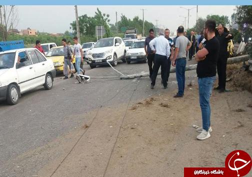 ۳ زخمی در تصادف دو خودرو در جاده دریا ساری + تصاویر