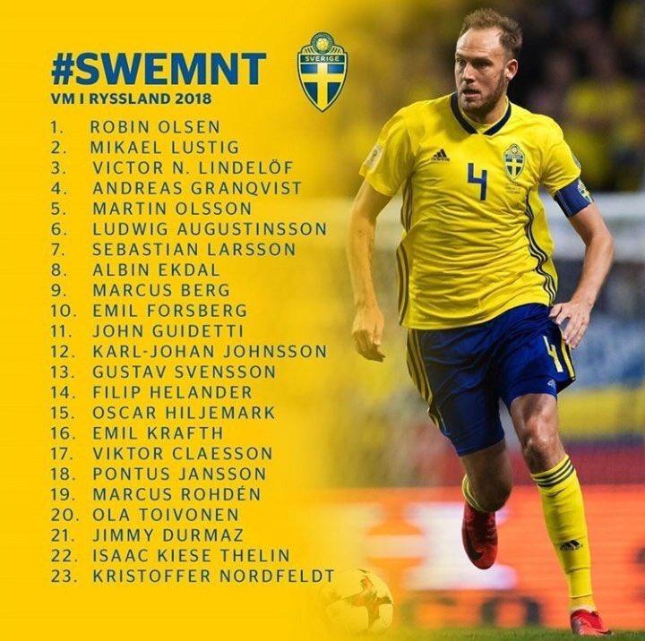 لیست تیم ملی سوئد برای جام جهانی روسیه اعلام شد+عکس