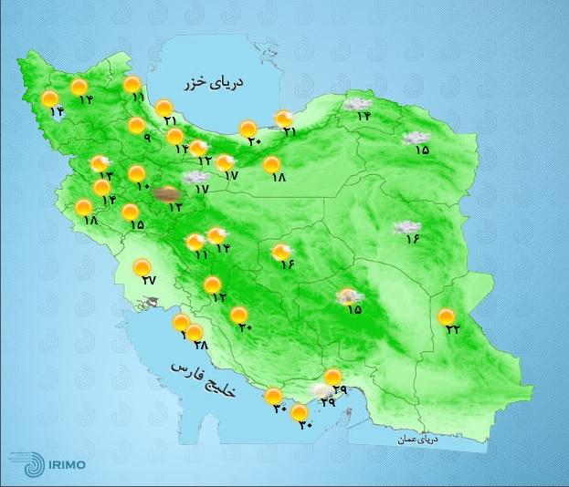 رگبار باران و رعد و برق در برخی مناطق کشور+ جدول