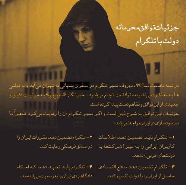 جزئيات توافق درلت با دورف در تهران/ ماجرای حمايتهای پيدا و پنهان از تلگرام چيست؟