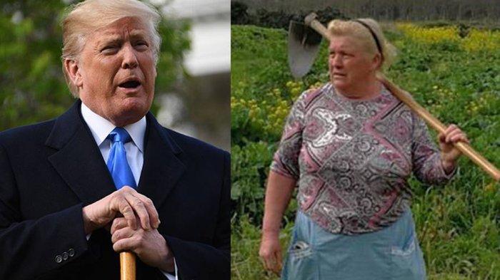 عکس/۱زن روستایی بَدَل ترامپ!
