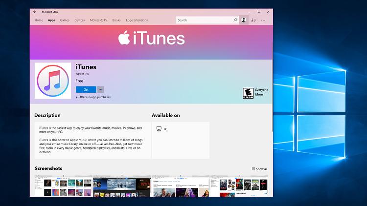 آیتونز به مایکروسافت اسـتور ویندوز اضافه شد