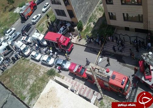 آتش سوزی در ساختمان ۶ طبقه در قزوین