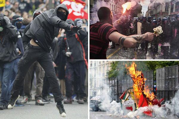 درگیری پلیس با معترضان در فرانسه+ تصاویر