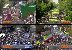 خروش مردم شهرهای کرمان، اردبیل، زنجان و بوشهر در راهپیمایی روز قدس + فیلم