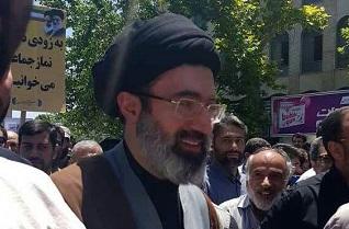 حجتالاسلام سید مجتبی خامنهای فرزند رهبر انقلاب در راهپیمایی روز قدس حاضر شد +فیلم