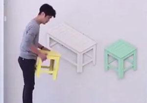 نیمکتهایی سه بعدی برای نشستن! +فیلم