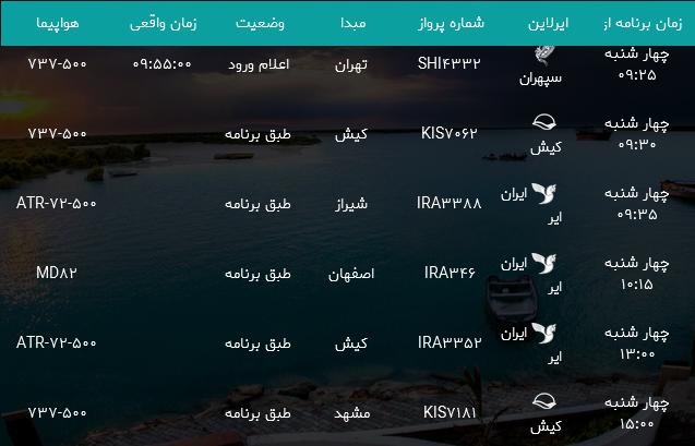 پروازهای فرودگاه بندرعباس چهارشنبه 2 خرداد ۹۷