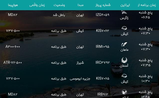 پروازهای فرودگاه بندرعباس پنجشنبه ۳ خرداد ۹۷
