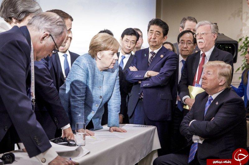 عکس مرکل و ترامپ تمام تنشهای گروه هفت را لو داد