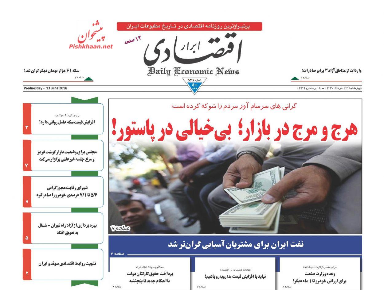 صفحه نخست روزنامه های اقتصادی 23 خردادماه