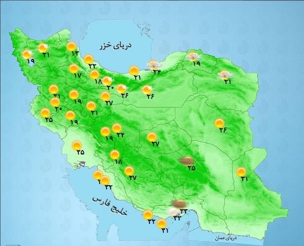 رگبار باران در برخی مناطق دامنه های غربی+ جدول