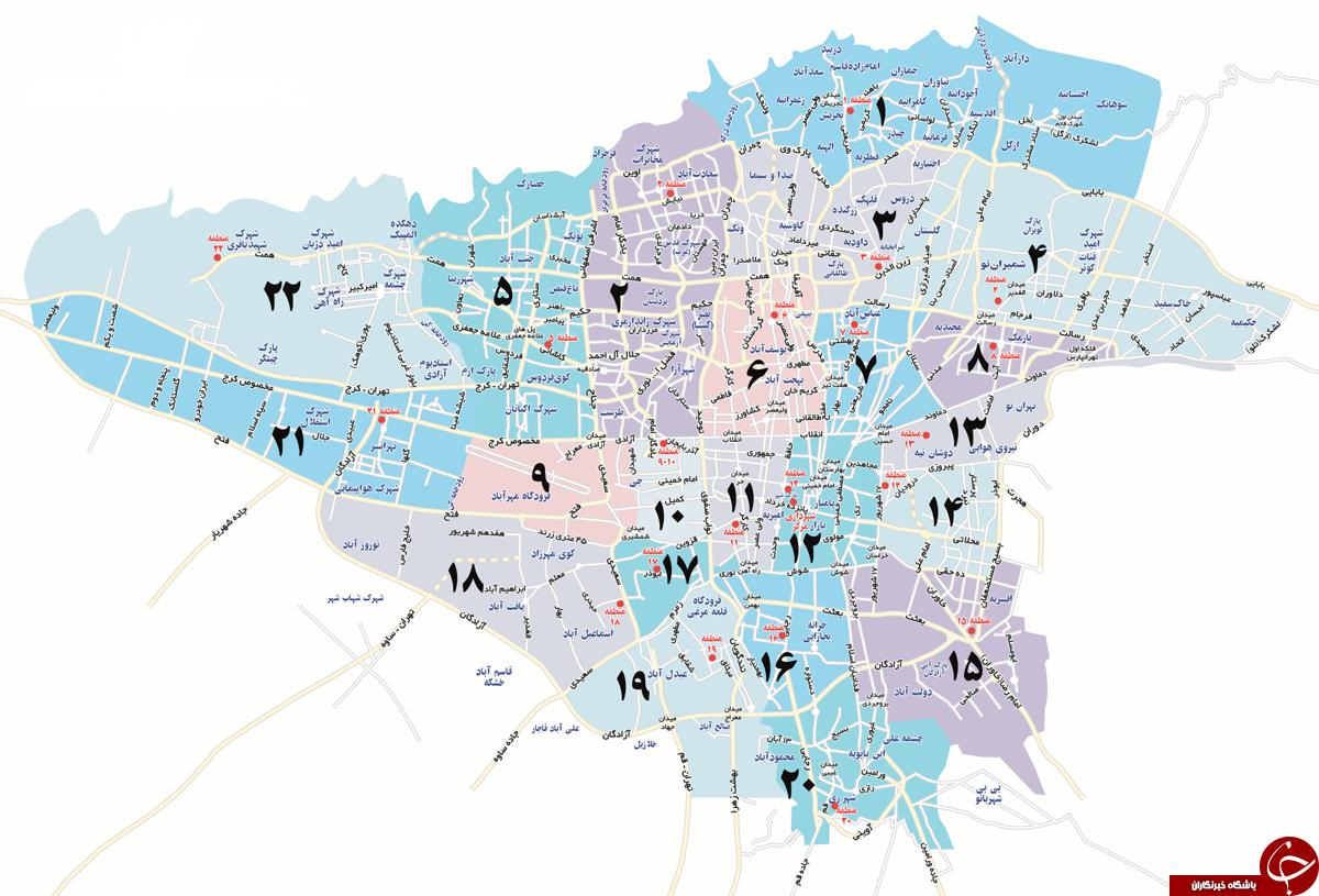 دانلود نقشه جدید و کامل شهر تهران- نقشه قدیمی تهران و نقشه مترو