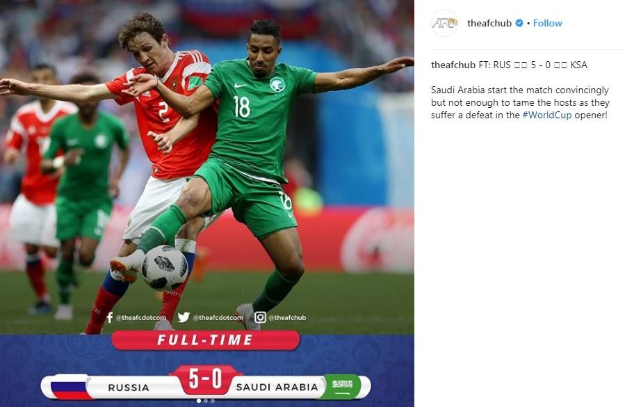 واکنش AFC به شکست مفتضحانه عربستان مقابل روسیه در افتتاحیه جام بیست و یکم