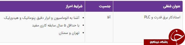 استخدام استادکار برق قدرت وPLC در شرکت معتبر در تهران و سمنان