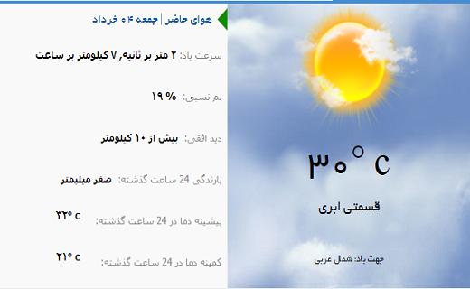 وضعیت آب و هوای یزد