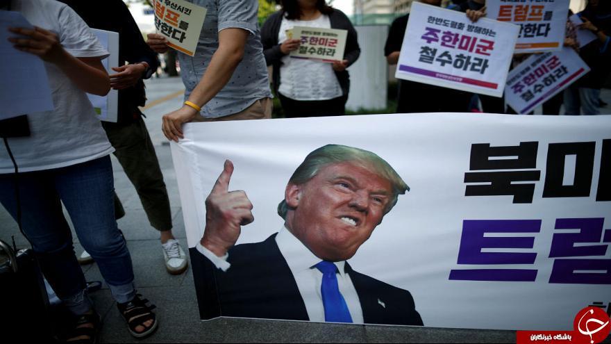 تصمیم اخیر ترامپ درباره کره شمالی، معترضان خشمگین کره جنوبی را به خیابانها کشاند+ تصاویر