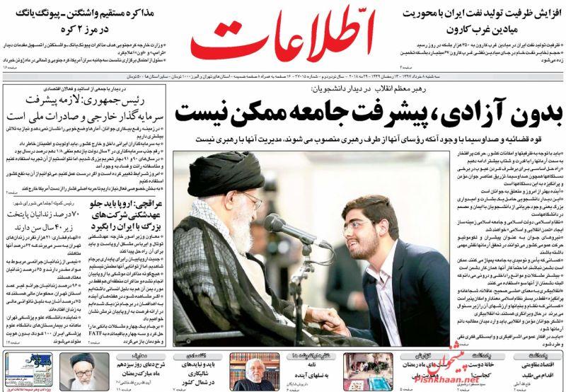 صفحه نخست روزنامههای 8 خرداد؛