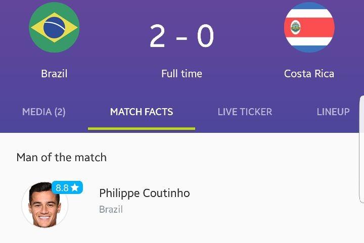 برزیل ۲ - ۰ کاستاریکا /پیروزی سخت شاگردان تیته مقابل کاستاریکا