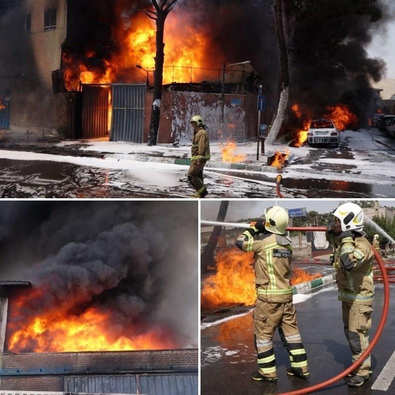 تعداد مصدومان آتش سوزی کارخانه رنگ جاده مخصوص کرج به ۴۶ نفر رسید