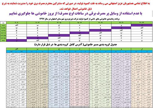 اعلام جدول خاموش های مناطق مختلف شهر اصفهان