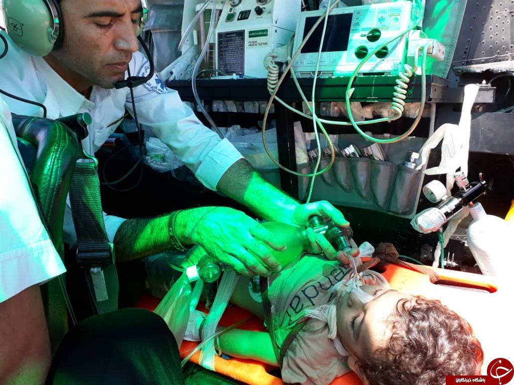 احیا کودک دو ساله دارابی در بالگرد جهرم + عکس