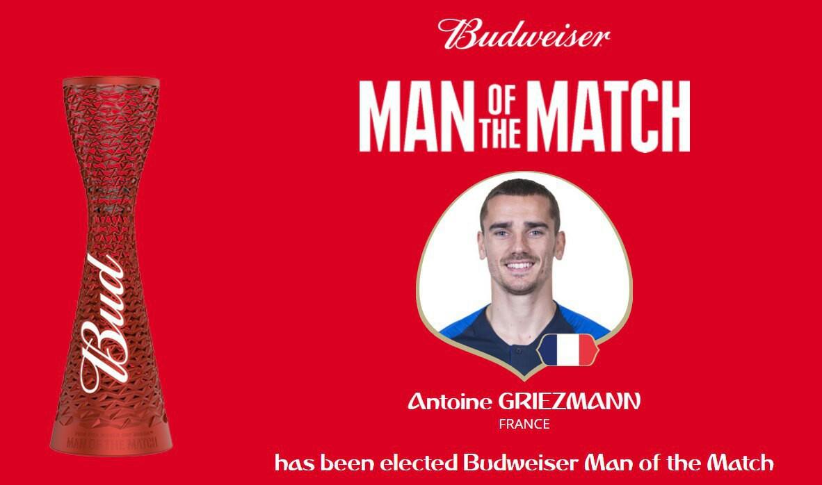 گریژمان بهترین بازیکن دیدار تیمهای فرانسه - اروگوئه