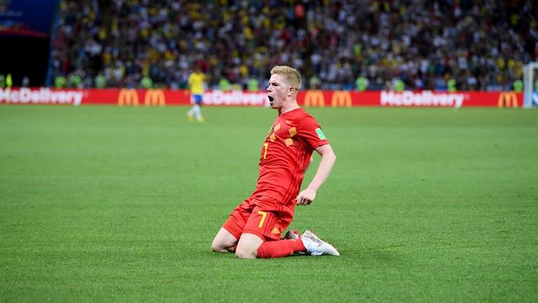 دی بروینه بهترین بازیکن دیدار بلژیک و برزیل شد