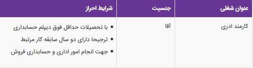 استخدام کارمند اداری آقا در شرکت آذرگستران آسیا در تهران